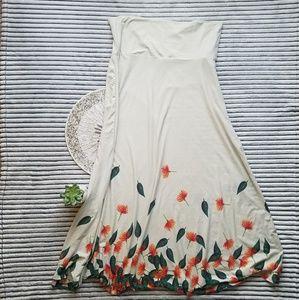 Lularoe Cream Floral Leaf Maxi Skirt XXL